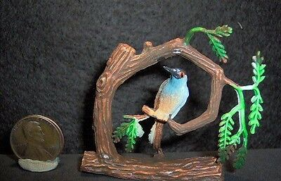 "Vintage Miniature Plastic Blue Bird in a Tree 2"" x 2"""