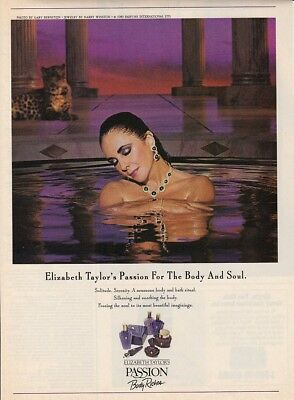 1989 Elizabeth Taylor at Spa photo Passion Body Riches Perfume promo print ad