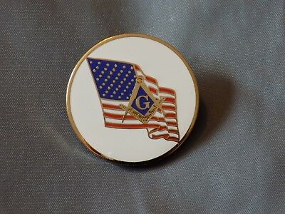 Master Mason Lapel Tac Pin Round Square Compass US Flag Fraternity  NEW!