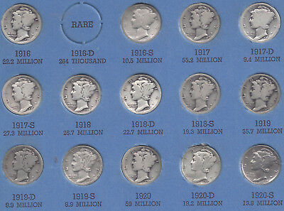 Mercury Dime Collection - 76 different silver dimes - 1916 to 1945    **1921 P&D