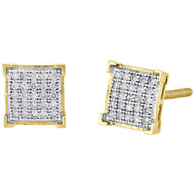 10K Yellow Gold Genuine Diamond Square 4 Prong Studs 7mm Pave Earrings 1/6 CT.