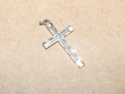 Vintage TK 925 Sterling Silver Etched Cross Religious Necklace Pendant 1.25""