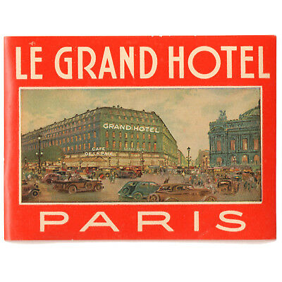 1958 LE GRAND HOTEL PARIS Luggage Label Decal Sticker MINT
