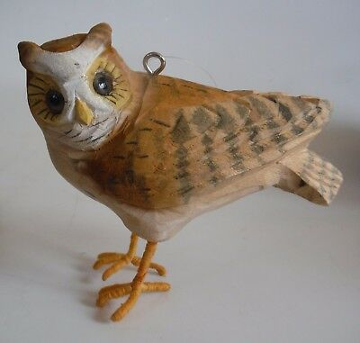Wonderful Vintage Carved Wood BARN OWL Ornament for Every Day or Christmas