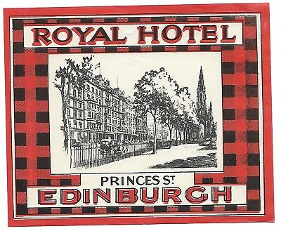 X LARGE Authentic Vintage Luggage Label ~ ROYAL HOTEL ~ Edinburgh, Scotland