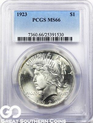 1923 PCGS Peace Dollar PCGS MS 66 ** Very Lustrous Beauty, Free Shipping!