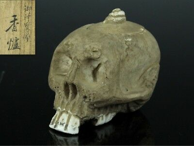 Japanese Antique Pottery Skull Skeleton Type Incense Burner W/box Mar303