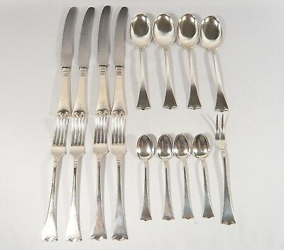 17 pc Jacob Tostrup KRONESØLV 830S SILVER Knives Spoons Forks Norway Flatware