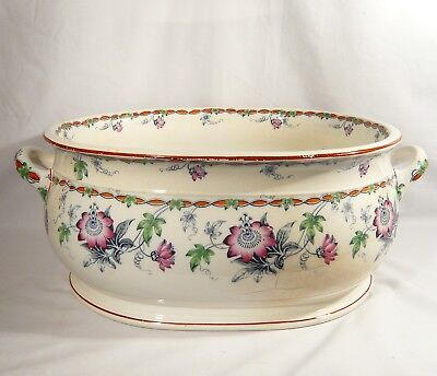 "Antique MINTONS Large 21"" STONE China FOOT BATH Flowers Minton Jardiniere TUB"