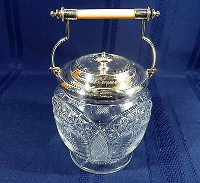 VERY RARE Antique Cut Crystal & Silver Plate Biscuit Cookie Jar Barrel ABP c1890