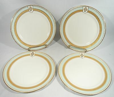 4 VERY RARE Antique 1865 W Fairbairns Armorial Lunch / Dessert Plates 8 3/4""