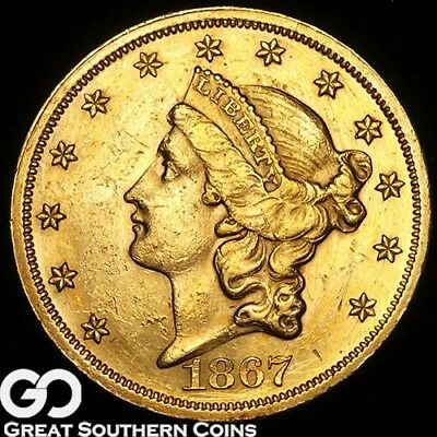 1867 Double Eagle, $20 Gold Liberty, Choice AU++ Better Date ** Free Shipping!