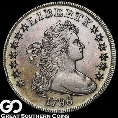 1798 Draped Bust Dollar, Great Strike, Very Choice AU++ Silver Dollar, Free S/H!