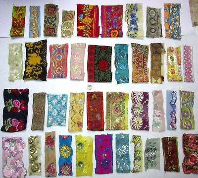VERY RARE LOT Antique Vintage Sari TRIM LACE EDGING RIBBON 30 Pcs EMBROIDERED