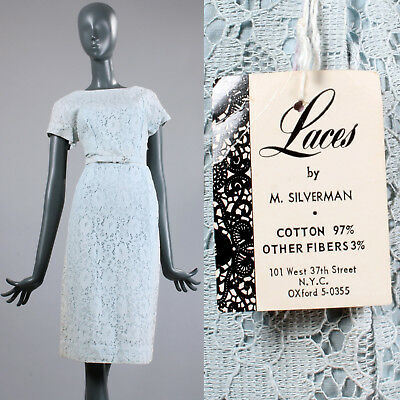 M Vintage 1950s 50s Baby Blue Summer Day Dress Lace Mid Century Casual Short Slv
