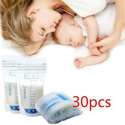 30x Breast Milk Freezing Bag Breast Milk Freezer Clear Bags Baby Food Storage B