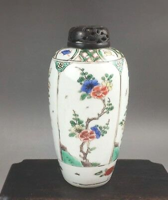 A rare/beautiful Chinese 17/18C famille verte bottle/cover-Kangxi