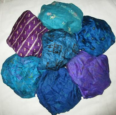 UK LOT PURE SILK Vintage Sari REMNANT Fabric 7 Pcs 1 foot ech Blue Violet #ABD7H