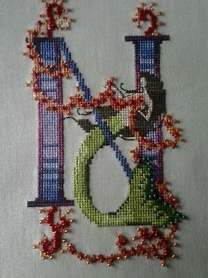 """Nora Corbett Mermaid Letter """"N"""" Completed Cross Stitch"""
