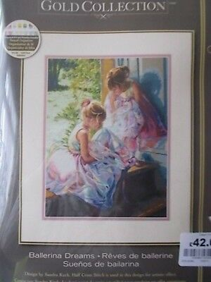 "Cross stitch Kit Gold Collection ""Ballerina Dreams "" New by Dimensions 11"" x 14"""
