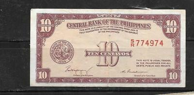 Philippines #128 1949 Vf Circ 10 Centavos Old Banknote Paper Money Currency Note