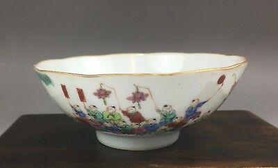 "A beautiful Chinese 19C famille rose bowl ""festival""-Tongzhimark&period"