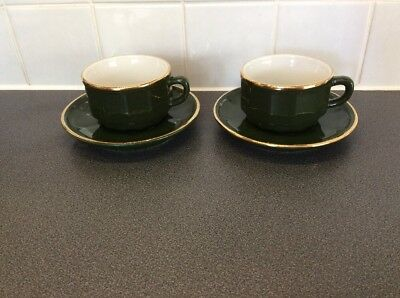 PAIR OF Apilco Green and Gold Retro Coffee Cups & Saucers - £9.90 ...