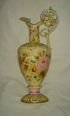 Pretty Antique Hungarian Zsolnay Pecs Colourful Reticulated Handle Tall Jug/ewer