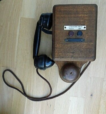 Vintage Telephone Wooden Frame Phone Embossed T. E. L.