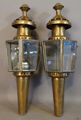 Antique PAIR Brass Buggy CARRIAGE Coach 5 Panel Beveled Glass Oil Lantern