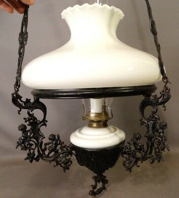 19thC Antique VICTORIAN Figural OLD Oil Hanging Lamp PUTTI Pull Down