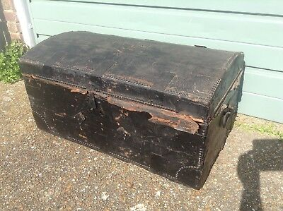 18th.Century Domed Top leather Bound Chest. With Brass  Studs & Original Key.