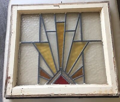 Antique English Geometric Leaded Stained Glass Window