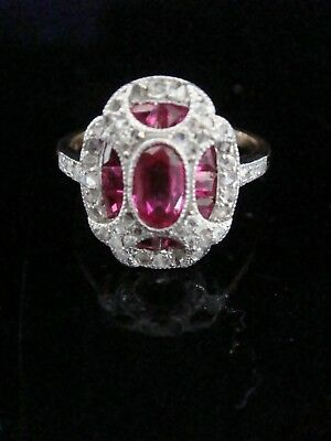 Art Deco 18Ct Platinum French Calibre Cut Ruby & Old Cut Diamond Cluster