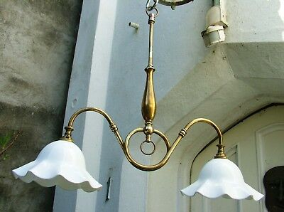 Edwardian Style Brass Two Light Chandelier With French Milk Glass Shades