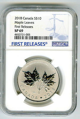 2018 Canada $10 1/2Oz .9999 Silver Ngc Sp69 Maple Leaf Leaves First Releases