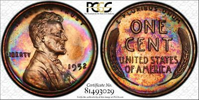 1952 PCGS PR65RB Gem Colorful Toned Proof Lincoln Cent with a TrueView (tk140)