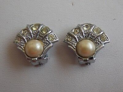 Beautiful & Rare Genuine Art Deco Chrome Diamante & Faux Pearl Clip On Earrings