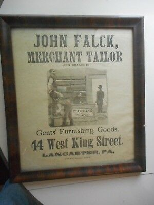 19th C. Advertising Broadside, for John Falck Merchant Tailor, Lancaster, pa