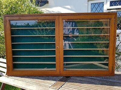 Vintage Oak Glass Fronted Display Wall Cabinet Model Cars Trains Corgi Dinky
