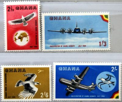 GHANA 1958 28-31 32-35 Inauguration Airline Flugzeuge Airplanes Bird Vogel MNH