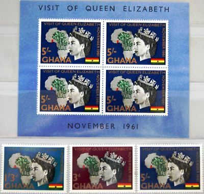 GHANA 1961 109-11 Block 6 107-109a Visit Queen Elizabeth II Map Africa Royals **