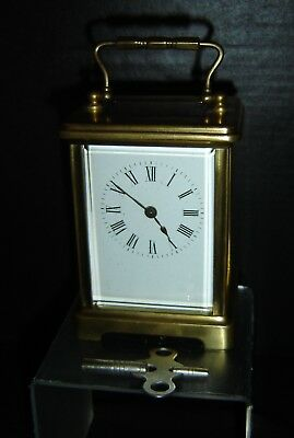 Antique French Miniature Brass Carriage Clock by S.F. With Key NO RESERVE.