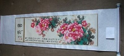 Chinese /oriental Flowering Bush Hand Painted Wall Hanging Scroll ( 2 )