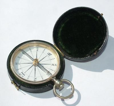 High Quality Victorian Fob Pocket Watch Size Compass In Leather Fitted Case