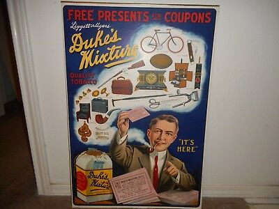 Vintage Early 1900's Duke's Mixture Tobacco Paper Litho Poster Sign