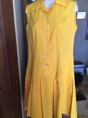 VINTAGE 60s PLEATED SCOOTER GO-GO GIRL DRESS GOLD M/L NEVER WORN