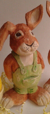 Hand Carved Wooden Bunny Rabbit Canadian Award Winning carver