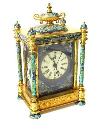 Vintage Decorative Yellow, Blue & Green Mantel Clock, Made in China - C69
