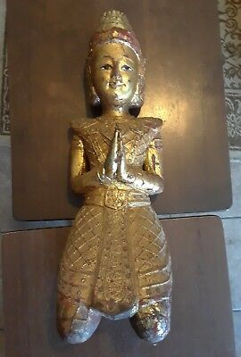 Beautiful Vintage Wooden Temple Buddha peacefully smiling praying rare buddhist